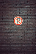 Parking sign, bricks wall iPhone wallpaper