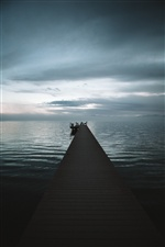 Pier, sea, fog, morning iPhone wallpaper
