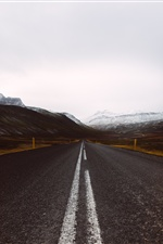 Road, mountains, snow, winter iPhone wallpaper
