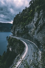 Sigriswil, Switzerland, road, cliff, river iPhone wallpaper