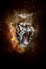 Tiger, roar, fire, creative design iPhone wallpaper