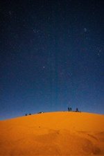 Desert, starry, sky, people iPhone Wallpaper