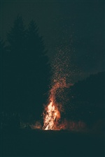 Night, bonfire, fire, sparks iPhone wallpaper