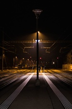 Railway Station, night, lights iPhone wallpaper